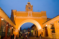 Beautiful night image of famous arch church called Arco de santa Catalina and street in tourist village of Antigua Guatemal