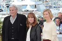 Actor Peter Simonischek, director Maren Ade and actress Sandra Hueller attend the 'Toni Erdmann' photocall during the 69th annual Cannes Film Festival at the Palais des Festivals on May 14, 2016 in Cannes, France.