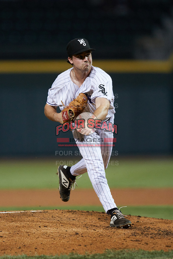 Winston-Salem Dash starting pitcher Dan Metzdorf (15) follows through on his delivery against the Bowling Green Hot Rods at Truist Stadium on September 7, 2021 in Winston-Salem, North Carolina. (Brian Westerholt/Four Seam Images)