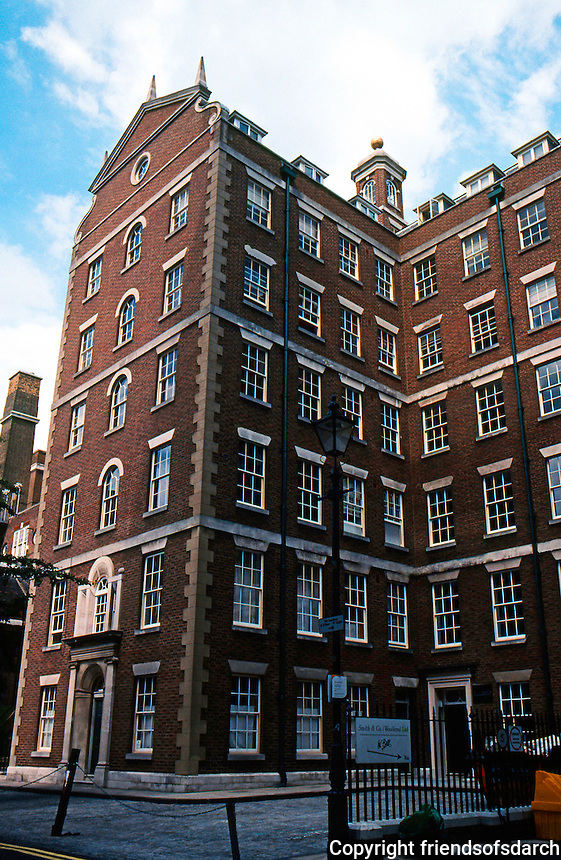 Quinlan Terry: 7-story Neo-Georgian Office Building. Dufours Place, SOHO, 1980's.  Photo '05.