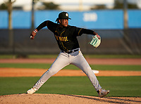 Montverde Academy Eagles pitcher Victor Rodriguez (24) during a game against the IMG Academy Ascenders on April 8, 2021 at IMG Academy in Bradenton, Florida.  (Mike Janes/Four Seam Images)