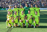Seattle, WA - Saturday July 23, 2016: Seattle Reign FC Starting XI during a regular season National Women's Soccer League (NWSL) match between the Seattle Reign FC and the Orlando Pride at Memorial Stadium.