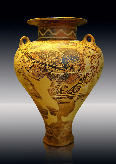 Photo of a  jug decorated with stylised birds bands showing Cycladic and Minoan influences.   Mycenae Grave find, Greece. 15th century BC,  ,  National Archaeological Museum, Athens.