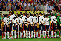 The U.S. starting eleven lines up in front of press and spectators before the start of the match. The USA and Italy played to a 1-1 tie in their FIFA World Cup Group E match at Fritz-Walter-Stadion, Kaiserslautern, Germany, June 17, 2006.