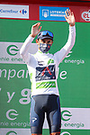Egan Bernal (COL) Ineos Grenadiers retains the young riders White Jersey at the end of Stage 16 of La Vuelta d'Espana 2021, running 180km from Laredo to Santa Cruz de Bezana, Spain. 31st August 2021.     <br /> Picture: Luis Angel Gomez/Photogomezsport   Cyclefile<br /> <br /> All photos usage must carry mandatory copyright credit (© Cyclefile   Luis Angel Gomez/Photogomezsport)