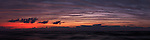 Atmospheric panoramic twilight nature scenery of lake Huron with beautiful stripy red blue sky. Ontario, Canada. Pinery Provincial Park.