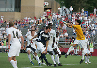 04 September 2009: Chris Sutton #19 of the University of Notre Dame loses the ball to a punch save from Akira Fitzgerald #1 of Wake Forest University during an Adidas Soccer Classic match at the University of Indiana in Bloomington, In. The game ended in a 1-1 tie..