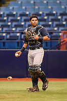 Tampa Bay Rays catcher Armando Araiza (71) during an Instructional League game against the Boston Red Sox on September 25, 2014 at Tropicana Field in St. Petersburg, Florida.  (Mike Janes/Four Seam Images)