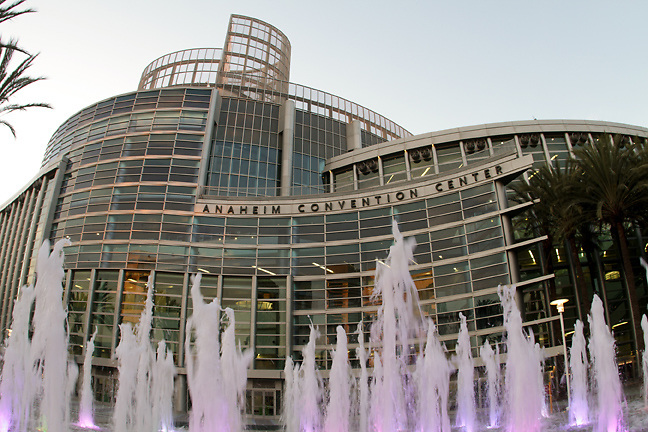 The exterior of the Anaheim Convention Center.