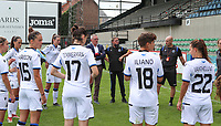 Brugge team is pictured before a female soccer game between Eendracht Aalst and Dames Club Brugge YLA on the first matchday of the 2020 - 2021 season of Belgian Women's SuperLeague , friday 28 of August 2020  in Aalst , Belgium . PHOTO SPORTPIX.BE | SPP | SEVIL OKTEM