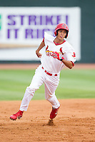 Carlos Torres (21) of the Johnson City Cardinals hustles towards third base against the Elizabethton Twins at Cardinal Park on July 27, 2014 in Johnson City, Tennessee.  The game was suspended in the top of the 5th inning with the Twins leading the Cardinals 7-6.  (Brian Westerholt/Four Seam Images)
