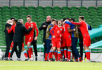 27th March 2021; Aviva Stadium, Dublin, Leinster, Ireland; 2022 World Cup Qualifier, Ireland versus Luxembourg; Luxembourg team celebrate taking a 1-0 lead in the 85th minute
