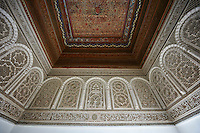 Mocarabe Berber arabesque plasterwork and wood inlaid ceiling.The Petite Court, Bahia Palace, Marrakesh, Morroco
