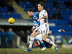 St Johnstone v Inverness Caley Thistle…09.03.16  SPFL McDiarmid Park, Perth<br />Danny Swanson battkes with Greg Tansey<br />Picture by Graeme Hart.<br />Copyright Perthshire Picture Agency<br />Tel: 01738 623350  Mobile: 07990 594431