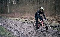 John Degenkolb (DEU/Trek-Segafredo) over the Bois de Wallers cobbles<br /> <br /> Team Trek-Segafredo during parcours recon of the 116th Paris-Roubaix 2018, 3 days prior to the race