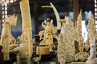Ornaments made of ivory sit in a display in the Gangaramaya Temple in Colombo.