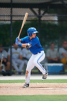 GCL Blue Jays designated hitter Davis Schneider (76) at bat during a game against the GCL Pirates on July 20, 2017 at Bobby Mattick Training Center at Englebert Complex in Dunedin, Florida.  GCL Pirates defeated the GCL Blue Jays 11-6 in eleven innings.  (Mike Janes/Four Seam Images)