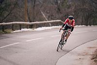 Lars Bak (DEN/Lotto-Soudal) in limbo<br /> <br /> 76th Paris-Nice 2018<br /> stage 6: Sisteron > Vence (198km)