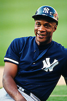 Darryl Strawberry of the New York Yankees at Anaheim Stadium in Anaheim,California during the 1996 season. (Larry Goren/Four Seam Images)