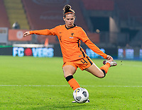 BREDA, NETHERLANDS - NOVEMBER 27: Merel van Dongen #4 of the Netherlands dribbles during a game between Netherlands and USWNT at Rat Verlegh Stadion on November 27, 2020 in Breda, Netherlands.
