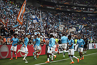 Olympique de Marseille players warm up before the UEFA Europa League final football match between Olympique de Marseille and Club Atletico de Madrid at the Groupama Stadium in Decines-Charpieu, near Lyon, France, May 16, 2018.<br /> UPDATE IMAGES PRESS/Isabella Bonotto