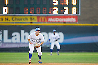 Burlington Royals second baseman Andrew Ayers (18) on defense against the Pulaski Mariners at Burlington Athletic Park on July 20, 2013 in Burlington, North Carolina.  The Royals defeated the Mariners 6-5.  (Brian Westerholt/Four Seam Images)