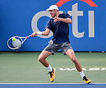 July 29,2019:   Brayden Schnur (CAN) loses to Jo-Wilfried Tsonga (FRA) 6-4, 7-6, at the CitiOpen being played at Rock Creek Park Tennis Center in Washington, DC, .  ©Leslie Billman/Tennisclix/CSM