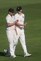 Middlesex captain, Tim Murtagh, holding the cricket ball, talks tactics with young Middlesex seamer, Blake Cullen during Sussex CCC vs Middlesex CCC, LV Insurance County Championship Division 3 Cricket at The 1st Central County Ground on 7th September 2021