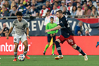 FOXBOROUGH, MA - JULY 25: Joaquin Torres #18 of CF Montreal passes the ball during a game between CF Montreal and New England Revolution at Gillette Stadium on July 25, 2021 in Foxborough, Massachusetts.