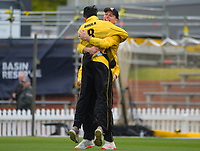Michael Bracewell congratulates Jacob Bhula for dismissing Henry Cooper during the Ford Trophy men's cricket match between Wellington Firebirds and Northern Districts at the Basin Reserve in Wellington, New Zealand on Sunday, 21 February 2021. Photo: Dave Lintott / lintottphoto.co.nz