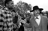 An American Christian evangelist argues with a young black heckler at Speakers Corner, Hyde Park, London