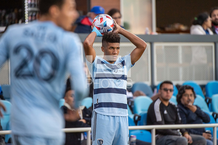 SAN JOSE, CA - MAY 22: Jaylin Lindsey #26 of Sporting Kansas City prepares for a throw in during a game between San Jose Earthquakes and Sporting Kansas City at PayPal Park on May 22, 2021 in San Jose, California.