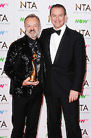 Graham Norton and Hugh Bonneville<br /> in the winners room at the National TV Awards 2017 held at the O2 Arena, Greenwich, London.<br /> <br /> <br /> ©Ash Knotek  D3221  25/01/2017