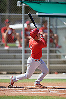 GCL Cardinals second baseman Josh Shaw (5) follows through on a swing during a game against the GCL Nationals on August 5, 2018 at Roger Dean Chevrolet Stadium in Jupiter, Florida.  GCL Cardinals defeated GCL Nationals 17-7.  (Mike Janes/Four Seam Images)