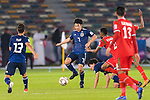 Shibasaki Gaku of Japan (C) in action during the AFC Asian Cup UAE 2019 Group F match between Oman (OMA) and Japan (JPN) at Zayed Sports City Stadium on 13 January 2019 in Abu Dhabi, United Arab Emirates. Photo by Marcio Rodrigo Machado / Power Sport Images