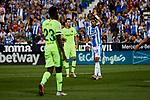 CD Leganes's Youssef En-Nesyri and FC Barcelona's Sergio Busquets during La Liga match between CD Leganes and FC Barcelona at Butarque Stadium in Madrid, Spain. September 26, 2018. (ALTERPHOTOS/A. Perez Meca)