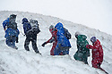 25/11/17<br /> <br /> Hikers brave blizzard conditions as the climb to the summit of Mam Tor.<br /> <br /> Snow continues to fall on Mam Tor near Castleton in the Derbyshire Peak District.<br />  <br /> All Rights Reserved F Stop Press Ltd. +44 (0)1335 344240 +44 (0)7765 242650  www.fstoppress.com