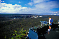 A man views the Kilauea Caldera from the Jagger Museum obseration area located on Crater Rim Drive, Volcanoes National Park, Hawaii.