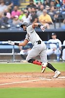 Hickory Crawdads Pedro Gonzalez (4) runs to first base during a game against the Asheville Tourists on July 20, 2021 at McCormick Field in Asheville, NC. (Tony Farlow/Four Seam Images)