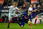 Luis Alberto Suarez Diaz of FC Barcelona (R) fights for the ball with Simon Kjaer of Sevilla FC (L) during the La Liga 2017-18 match between FC Barcelona and Sevilla FC at Camp Nou on November 04 2017 in Barcelona, Spain. Photo by Vicens Gimenez / Power Sport Images