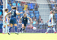 July 25, 2012..United States' Rachel Buehler (16) reacts. USA vs France Football match during 2012 Olympic Games at Hampden Park in Glasgow, England. USA defeat France 4-2 after conceding two goals in the first half of the match...(Credit Image: © Mo Khursheed/TFV Media)