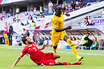 Awer Mabil of Australia (R) fights for the ball with Feras Zeyad Shilbaya of Jordan during the AFC Asian Cup UAE 2019 Group B match between Australia (AUS) and Jordan (JOR) at Hazza Bin Zayed Stadium on 06 January 2019 in Al Ain, United Arab Emirates. Photo by Marcio Rodrigo Machado / Power Sport Images