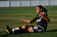 Marta Vieira da Silva (10) of the Los Angeles Sol celebrates scoring her first goal during a Women's Professional Soccer match against the Sky Blue FC at TD Bank Ballpark in Bridgewater, NJ, on April 5, 2009. Photo by Howard C. Smith/isiphotos.com