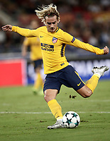 Football Soccer: UEFA Champions League AS Roma vs Atletico Madrid Stadio Olimpico Rome, Italy, September 12, 2017. <br /> Atletico Madrid's Antoine Griezmann in action during the Uefa Champions League football soccer match between AS Roma and Atletico Madrid at at Rome's Olympic stadium, September 12, 2017.<br /> UPDATE IMAGES PRESS/Isabella Bonotto