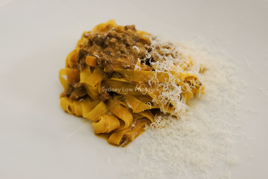 The first course of tagliatelle with bolognese meat ragù € 14 at Pappagallo, Bologna. The Pappagallo Restaurant in Bologna was established in 1919. It continues to serve traditional Bolognese cuisine. Photo Sydney Low