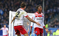 26.11.2017, Football 1. Bundesliga 2017/2018, 13. Match Day, Hamburger SV - TSG 1899 Hoffenheim, im Volksparkstadion Hamburg. Jubel  Dennis Diekmeier (Hamburg) und Torschuetze Gideon Jung (Hamburg) celebrates scoring to 3:0 *** Local Caption *** © pixathlon +++ tel. +49 - (040) - 22 63 02 60 - mail: info@pixathlon.de<br /> <br /> +++ NED + SUI out !!! +++