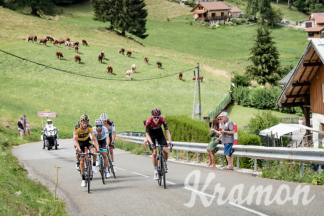 race leaders racing the beautiful French Alps:<br /> - Pavel Sivakov (RUS/Ineos)<br /> - Sepp Kuss (USA/Jumbo-Visma)<br /> - Alexey Lutsenko (KAZ/Astana)<br /> - Romain Bardet (FRA/AG2R-La Mondiale)<br /> - Tadej Pogačar (SVN/UAE-Emirates)<br /> <br /> Stage 5: Megève to Megève (154km)<br /> 72st Critérium du Dauphiné 2020 (2.UWT)<br /> <br /> ©kramon
