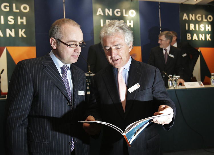 David Drumm, Group Chief Executive Officer (left) and Sean Fitzpatrick. Chairman of Anglo Irish Bank Plc., pictured here at the companies Annual General Meeting held in the Conrad Hotel, Dublin. pic. Robbie Reynolds.