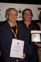 Sept 7,  2003, Montreal, Quebec, Canada<br /> <br />  Montreal director Louis Blanger  (R)r receive the OECUMNICAL AWARD for his movie, based on hos father's life and values, while Nicolae Margineami (L) received a mention for his movie<br /> <br /> <br /> <br /> The Festival runs from August 27th to september 7th, 2003<br /> <br /> <br /> Mandatory Credit: Photo by Pierre Roussel- Images Distribution. (©) Copyright 2003 by Pierre Roussel <br /> <br /> All Photos are on www.photoreflect.com, filed by date and events. For private and media sales