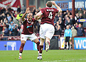 HEARTS' CRAIG BEATTIE CELEBRATES WITH HEARTS' MEHDI TAOUIL AFTER HE HEADS HOME HEARTS' FIRST GOAL